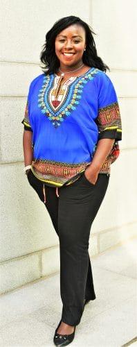 blå dashiki skjorta kvinna framsida 4 Konga
